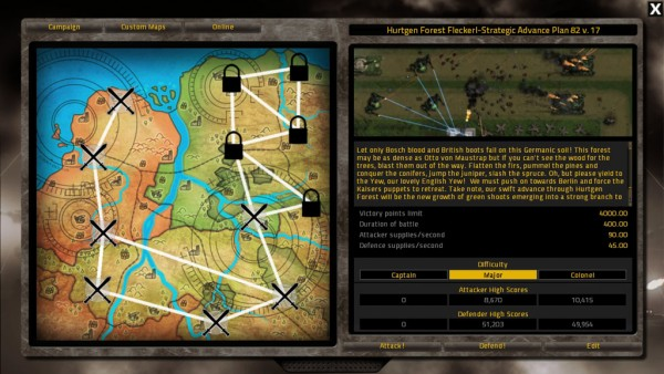 The campaign map screen
