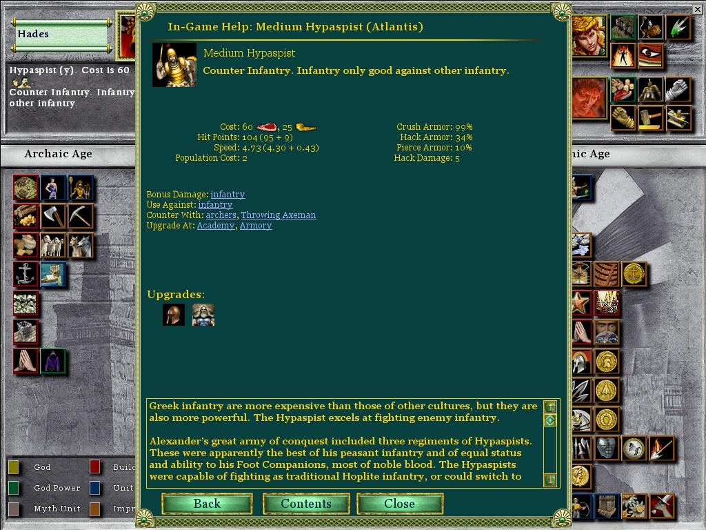 Age of Mythology in-game information