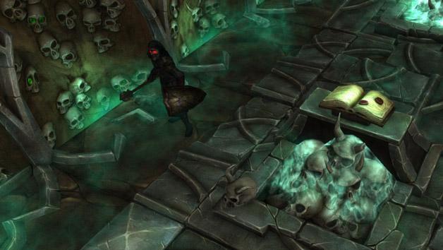 A Templar stalks a crypt.