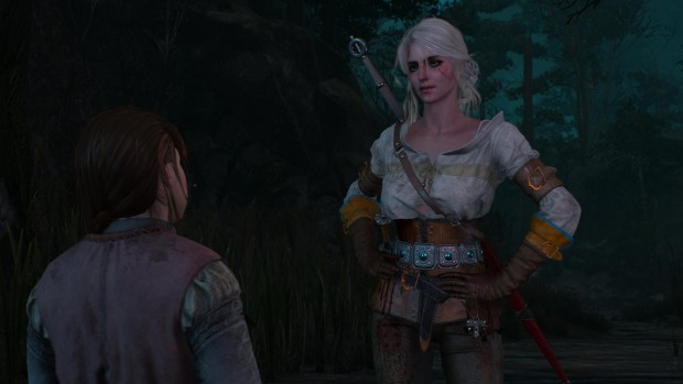 "The whole ""white hair, goth eyeshadow"" look is hard to pull off, but Ciri does okay with it."
