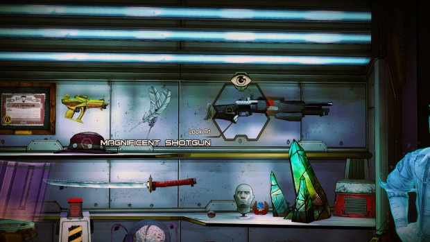 There's a lot of guns in Borderlands. Nineteen million, to be precise. That one there is the Scalable Conference Call, the most awesomest shotgun ever. My Borderlands 2 group went to great effort to get it for me, and then we stopped playing the game.