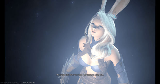 A dramatic FF14 cutscene featuring a rabbit woman